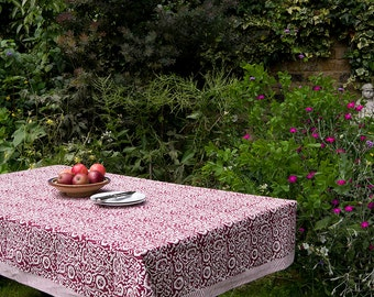 Block printed TABLECLOTH - Burgundy and white