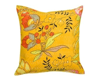 Cushion Cover - LARGE YELLOW FLOWER - 40 x 40