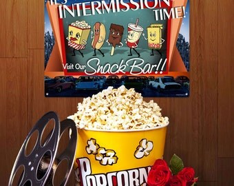Intermission Time Dancing Snacks Home Theater Sign - #34467