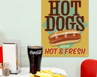 Hot Dogs Plump Juicy Fresh Diner Metal Sign 12 x 16 - #37338