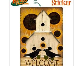 Welcome Birdhouse Sunflowers Vinyl Sticker - #70955