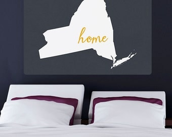 New York Home State Outline Wall Decal - #66394