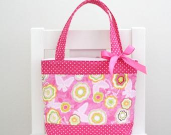 Little Girls Bag / Mini Tote Bag / Girls Bag / Kids Bag - Pink Floral & Hot Pink Spot
