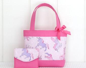 Little Girls Tote Bag & Purse Set / Kids /Toddler Bag / Mini Tote Bag - Unicorns