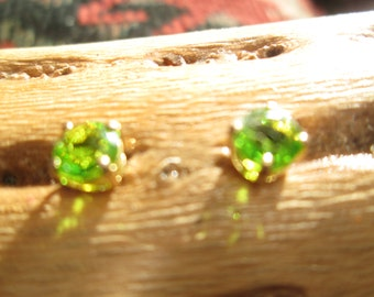 Green Glass and Sterling Vermeil Stud Earrings
