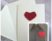 7th Wedding Anniversary Card, Wool Anniversary Gift, 7th Anniversary Card, Knitted Heart, Unique Valentines Card and Heart Brooch
