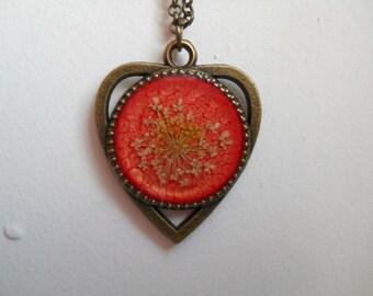 Orange heart pendant, queen ann lace pendant, antique brass necklace, heart pendant, real flower pendant  , heart necklace, resin jewelry