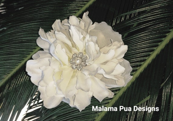 Real Flower Bridal Hair Accessories : Bridal hair flower clip real touch ivory dahlia by malamapua