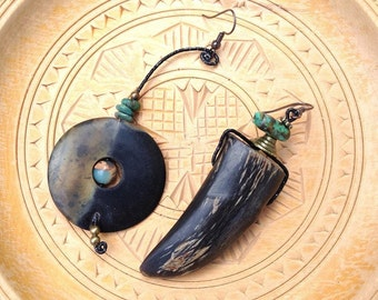 Quetzal asymmetrical African tribe nomad natural primitive earrings