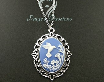 Hummingbird Vintage Inspired Cameo Necklace