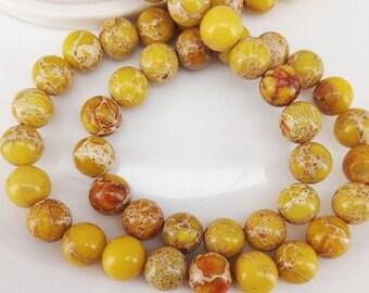Full Strand 47pcs 8mm Smooth Round Yellow Sediment Imperial Jasper Beads Emperor Jasper Beads Imperial Jasper