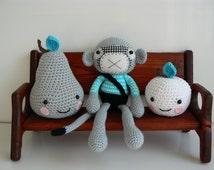 Stuffed Animal - Nursery Decor - Stuffed Monkey - Crochet Monkey - Amigurumi Monkey - Handmade Monkey - Plush - Monkey Girl