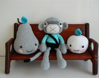 Stuffed Animal - Nursery Decor - Stuffed Monkey - Crochet Monkey - Amigurumi Monkey - Handmade Monkey - Plush - Monkey Girl