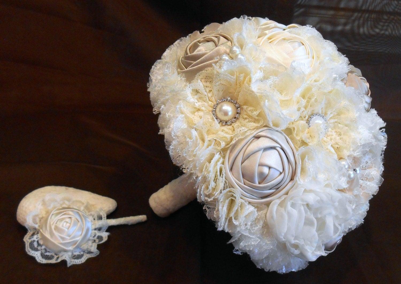 Bridal Bouquet Materials : Wedding bouquet bridal fabric lace