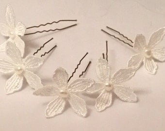 Arabella Hair Pins - Ivory Guipure Lace Flowers (Set of 5)