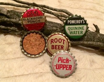 5 Vintage 1950's - 1970's Unused, Cork Lined Soda Bottle Top Magnets.
