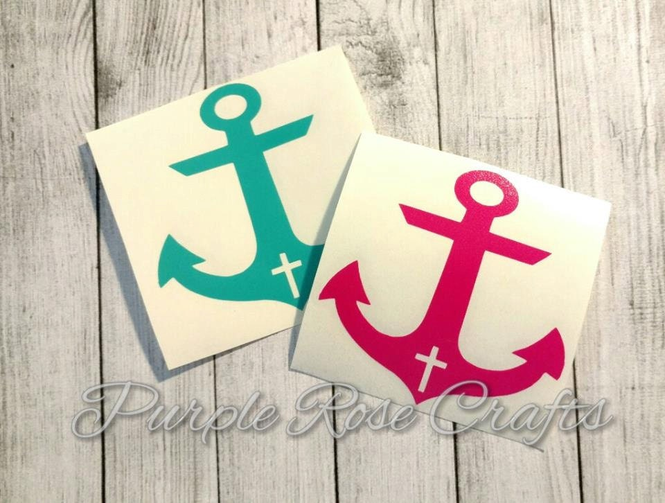 Cross Anchor Decal Sticker Cling Window Cup Car