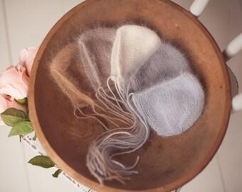 Newborn knitted bonnet.. newborn hat.. newborn bonnet... newborn photography prop..organic...natural...angora