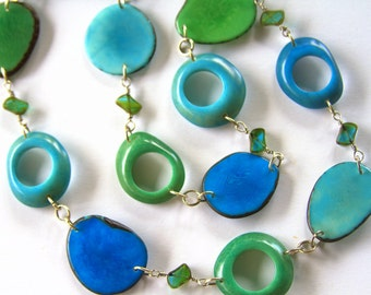 Extra Long Natural Tagua Nut Statement Necklace in Turqoise Blue, Teal, Agua with Czech Glass Beads. Tagua in colors of water, blues