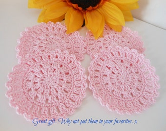 Pink drink coasters, vintage crochet doilies, cotton anniversary gift, housewarming gift, kitchen decor, wedding gifts for couple