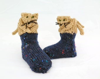 Knitting Pattern For Cat Socks : Cat socks Etsy