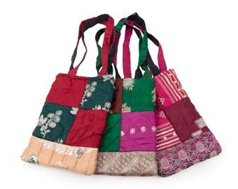 Quilted Silk Sari Bag