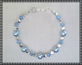 blue bracelet, light blue, Swarovski bracelet, light blue bracelet, baby blue