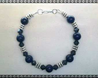 blue bracelet, dark blue bracelet, crystal bracelet, silver, dark blue, denim