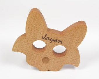 Personalized Cat Teether, Wooden Teether, Natural Wood Teether, Organic Wood Teether, Wooden Baby Toy, Wooden Teething Ring, Grasping Toy