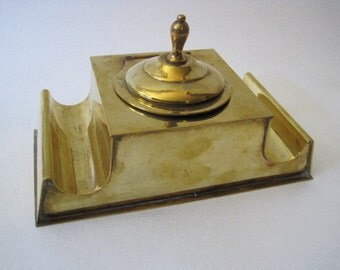 Brass Inkwell with Pen Holders - Large Vintage Ink Well