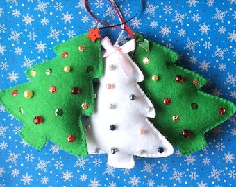 Felt Christmas Tree Ornament PDF Sewing Pattern and Tutorial, Instant Download, Easy Step-by-Step Instructions