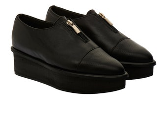 Black leather flatforms shoes - black flat platforms with zipper - free shipping - unique leather platform shoes - Clearance!