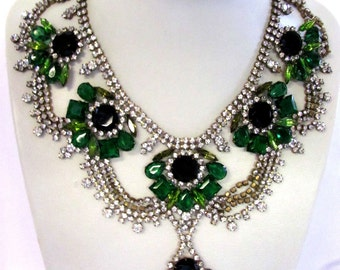 Vintage Signed Czech Designer Necklace Husar D Emerald Green Clear Rhinestone Bib Necklace Theatrical Jewelry