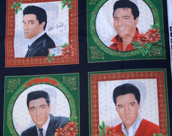 Quilting Fabric - Elvis Christmas Quilt Blocks Sewing Fabric - VIP Cranston Village - Out Of Print