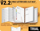 Trial [HALF size v2.2 w ds1 do1p] March to May 2017 - Half Letter - Filofax Inserts Refills Printable Binder Planner Midori.