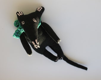 Free USA Shipping Handmade black mouse (rat) doll with a knitted cotton scarf  rag cloth fabric textile doll perfect gift