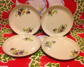Vintage set of 4 Ridgewood Translucent Chinalight green plates with pansy designs