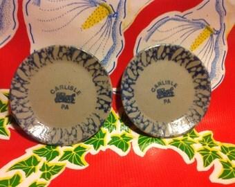 Vintage pair of small stoneware souvenir plates- Carlisle, PA
