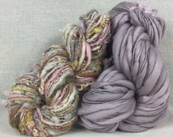 Hand spun bulky thick and thin yarn with co-ordinating art yarn. Duo set