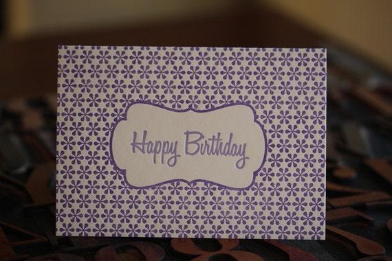 Purple Happy Birthday Letterpress Card