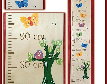 Butterflies and tree measuring bar with engraving