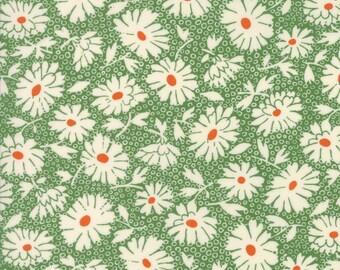Retro Daisy Fabric, 1930s - Lazy Daisy by American Jane for Moda Fabrics - 21703 18 Grass Green - Priced by the half yard