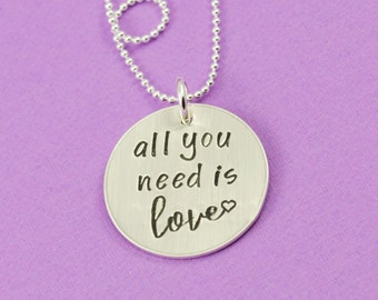All You Need is Love Necklace in Sterling SIlver