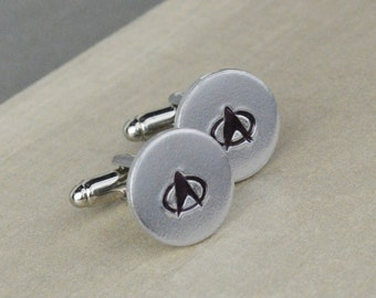 Starfleet Cuff Links - Hand Stamped Gift