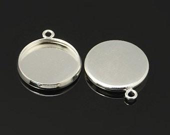12mm Silver Cabochon Pendant Tray Setting Bezel Trays 10pcs