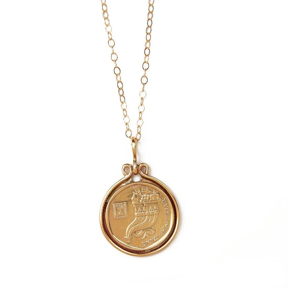 israeli coin pendant israeli coin necklace gold coin