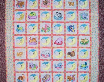 Cuddly Naptime Baby Animals machine embroidered baby quilt or wall hanging