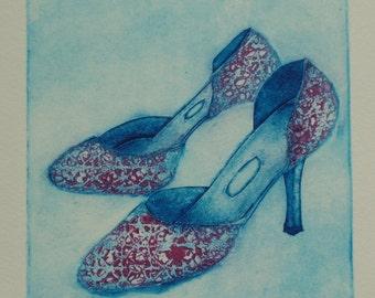 Original Collagraph Print - Ladies shoes
