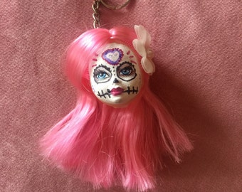 Day of the dead sugar skull head keyring