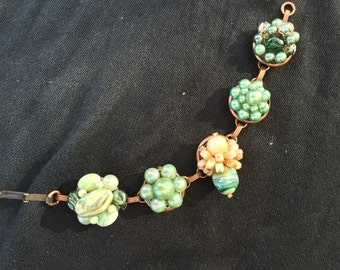 Vintage earrings upcycled into bracelet